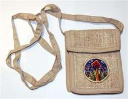 Hemp Shoulder Bag With Mushroom